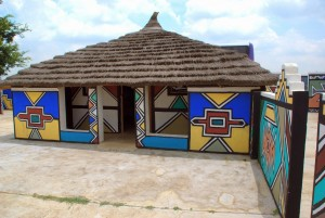 Traditional colourful hut